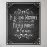 Wedding sign In Loving Memory vintage chalkboard Poster