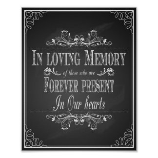 Wedding sign In Loving Memory vintage chalkboard Poster