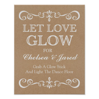 Wedding Sign – Let Love Glow Rustic Wedding Sign