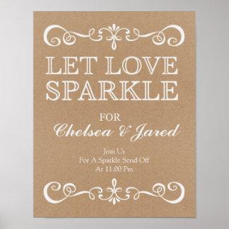 Wedding Sign –Let Love Sparkle Rustic Wedding Sign