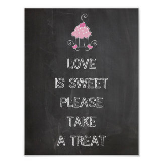 Wedding sign - love is sweet please take a treat poster