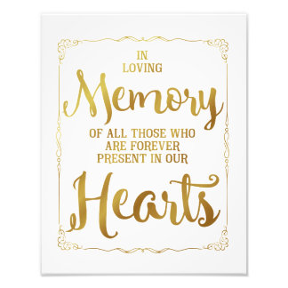 wedding sign, loving memory wedding, gold photo print