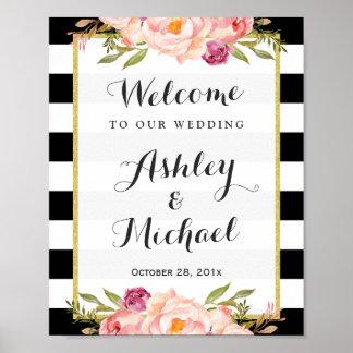 Wedding Sign   Modern Floral Black White Stripes