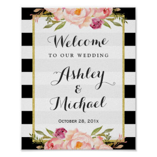 Wedding Sign | Modern Floral Black White Stripes Poster