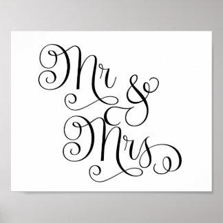 Wedding Sign - Mr. & Mrs.- Poster