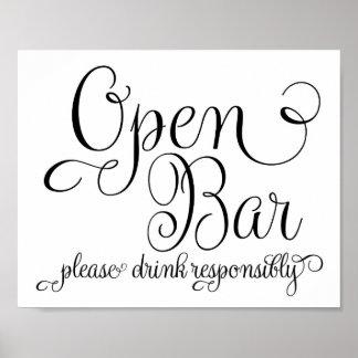 Wedding Sign - Open Bar Sign- Poster