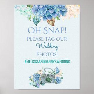 Wedding Sign Photos Hashtag Blue Hydrangeas