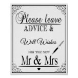 Wedding sign Please leave advice & well wishes Poster