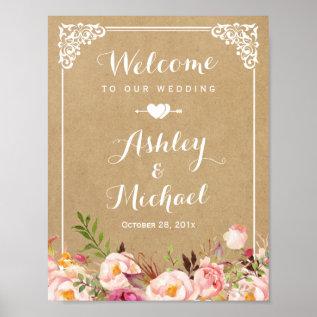 Wedding Sign | Rustic Floral Vintage Frame Kraft at Zazzle