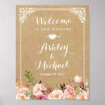 Wedding Sign | Rustic Floral Vintage Frame Kraft Poster