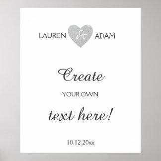 Wedding sign silver glitter heart, custom text