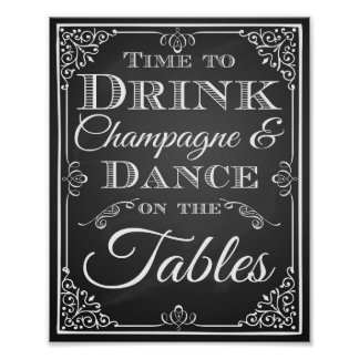 """Wedding sign """"Time to Drink Champagne chalkboard"""
