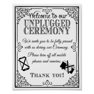 Wedding sign unplugged wedding vintage black white poster
