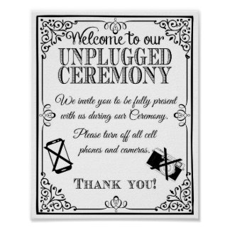 Wedding sign unplugged wedding vintage chalkboard poster
