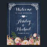 "Wedding Sign Vintage Blue Chalkboard Floral<br><div class=""desc"">================= ABOUT THIS DESIGN ================= Wedding Sign Vintage Blue Chalkboard Floral Poster Template. (1) The default size is 8.5 x 11 inches, you can change it to any size. (2) For further customization, please click the &quot;Customize it&quot; button and use our design tool to modify this template. All text style,...</div>"