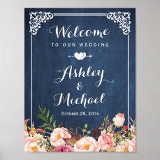 Wedding Sign Vintage Blue Chalkboard Floral