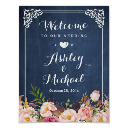 Wedding Sign Vintage Blue Chalkboard Floral