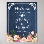 Wedding Sign Vintage Blue Chalkboard Floral Poster