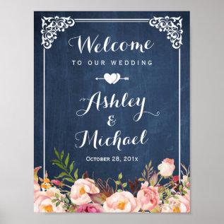 Wedding Sign Vintage Blue Chalkboard Floral Poster at Zazzle