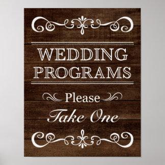 Wedding Sign Program Rustic