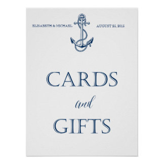 Wedding signage, CARDS and GIFTS, nautical style Poster