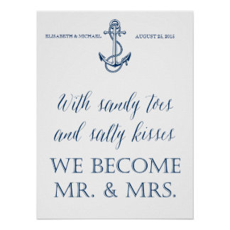 Wedding signage, nautical themed, funny message poster