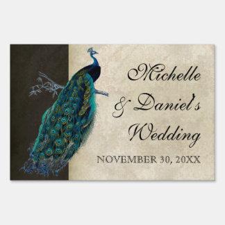 Wedding Signage Teal Vintage Peacock 8 & Etchings Yard Signs