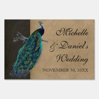 Wedding Signage Teal Vintage Peacock 8 & Etchings Lawn Signs