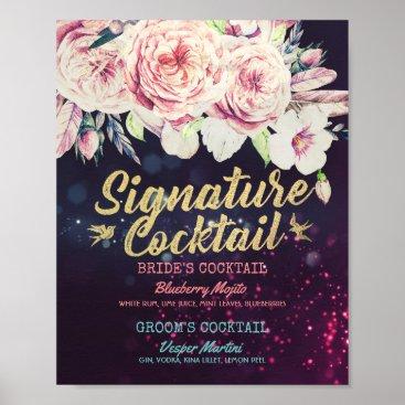 Art Themed Wedding Signature Cocktail Drink Menu Boho Floral Poster