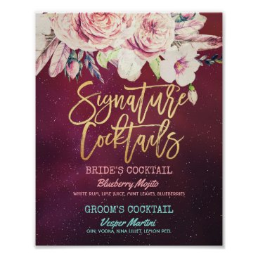Wedding Themed Wedding Signature Cocktail Drink Menu Boho Floral Poster
