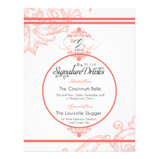 Wedding Signature Drink  |  Coral Letterhead
