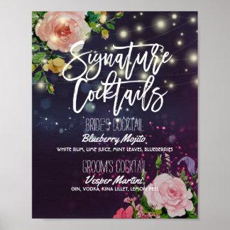Wedding Signature Drink Menu Floral String Lights Poster
