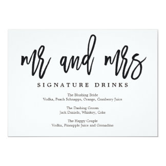 Wedding Signature Drinks Sign Brushed Calligraphy Card