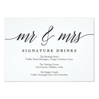 Wedding Signature Drinks Sign - Modern Script Card