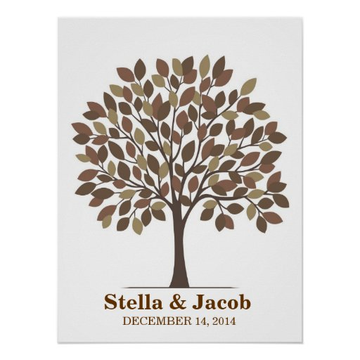 Wedding Signature Tree Poster – Natural Brown