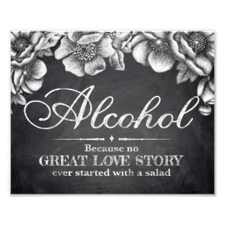 Wedding signs - chalkboard floral - Alocohol - Photo Print