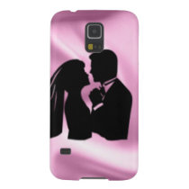Wedding Silhouette on Pink Silk Case For Galaxy S5