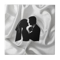 Wedding Silhouette on White Silk Ceramic Tile