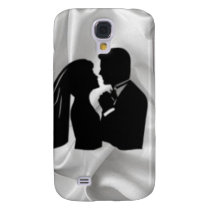 Wedding Silhouette on White Silk Galaxy S4 Cover