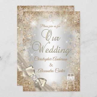 Wedding Silver Beige Cream Pearl Bow Snowflake Invitation