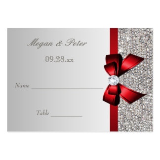 Wedding Silver Sequin Red Bow Seating Cards