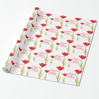 Wedding single red tulip art custom wrap wrapping paper