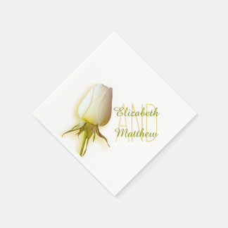 Wedding single white rose named paper napkin
