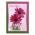 Wedding. Sister. Bridesmaid Card. Daisy flowers. Greeting Card