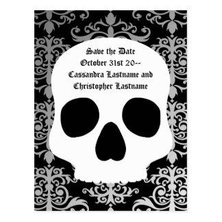 Wedding skull damask   Save the date Postcard