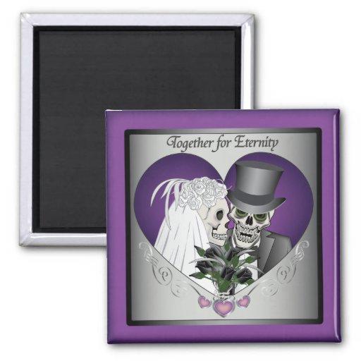 Wedding Skulls 2 Inch Square Magnet