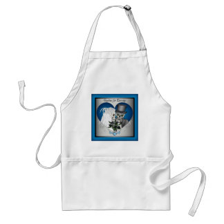 Wedding Skulls - Blue Adult Apron
