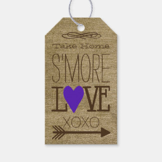 Wedding S'More Guest Favor Purple Heart Gift Tags