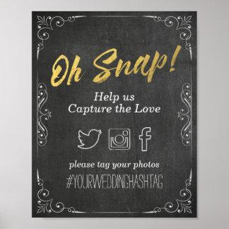 Wedding Snap Hashtag Black Gold Script Chalkboard Poster