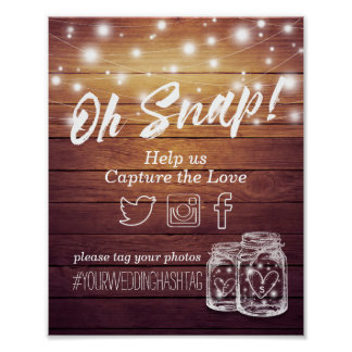 Wedding Snap Hashtag Rustic Wood Mason Jar Lights Poster